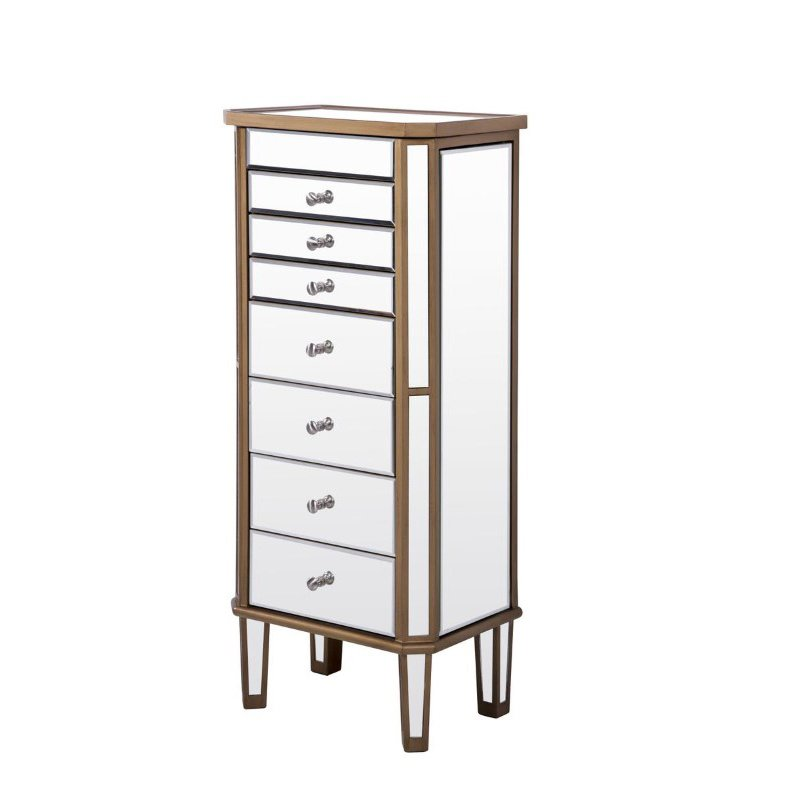 Elegant Decor 7 Drawer Jewelry Armoire 18 in. x 12 in. x 41 in. in Gold Clear (MF6-1103GC)