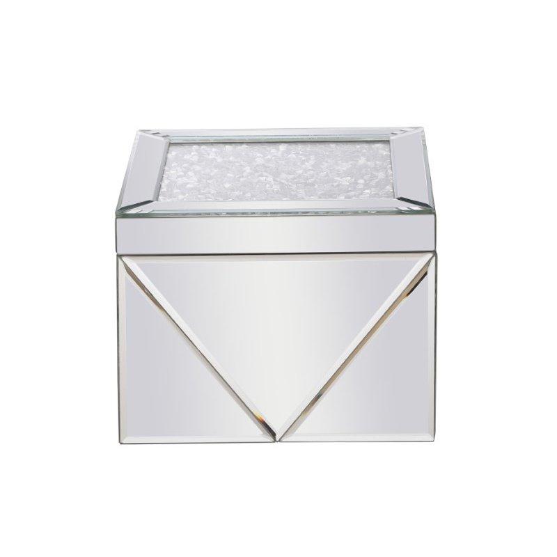 Elegant Decor 8 inch Square Crystal Jewelry Box Silver Royal Cut Crystal (MR9211)