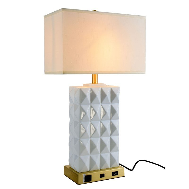 Elegant Decor Brio Collection 1-Light Brushed Brass and frosted white Finish Table Lamp (TL3001)