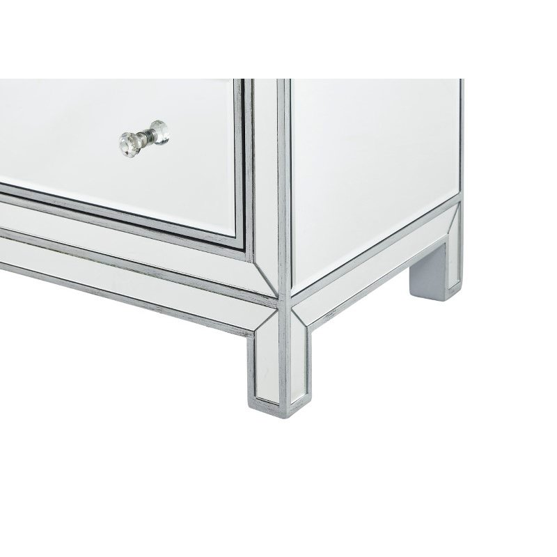 Elegant Decor Chest 3 drawers 40in. W x 16in. D x 32in. H in antique silver paint (MF72019)