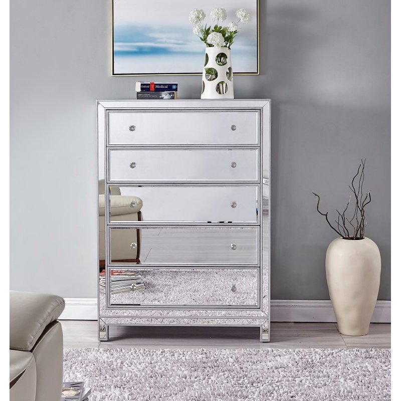 Elegant Decor Chest 5 drawers 34in. W x 16in. D x 48in. H in antique silver paint (MF72026)