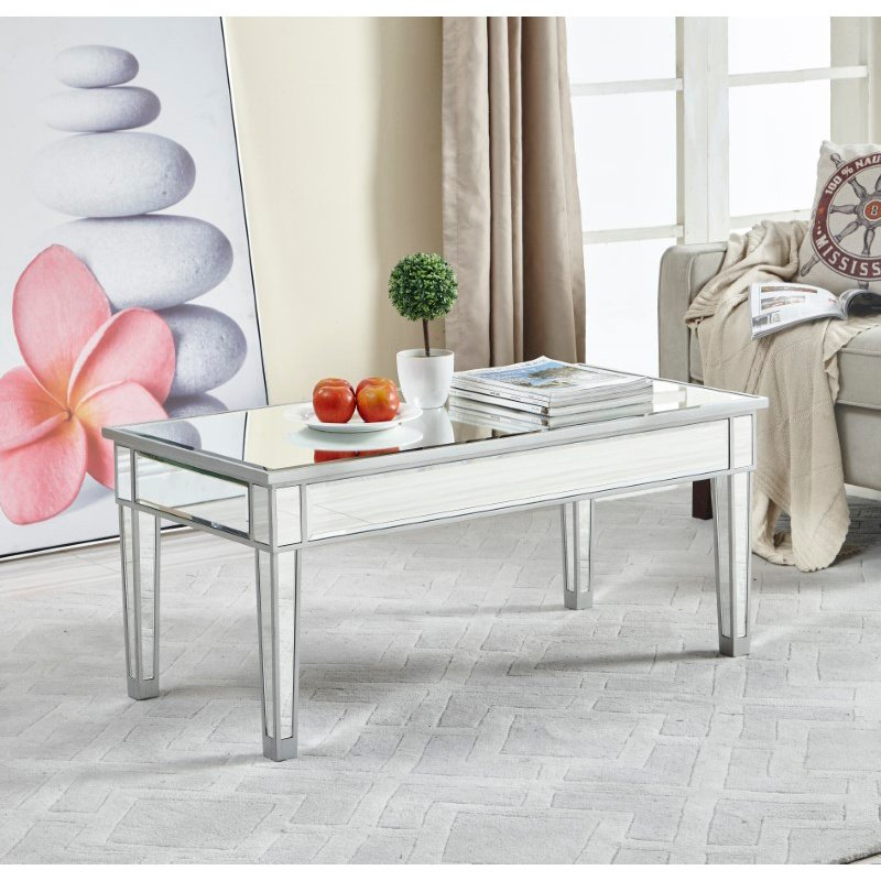 Elegant Decor coffee table 40in. W x 20in. D x 18in. H in antique silver paint (MF72021)