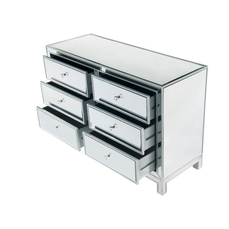 Elegant Decor Dresser 6 drawers 48in. W x 18in. Din. x 32in. H in antique silver paint (MF72017)