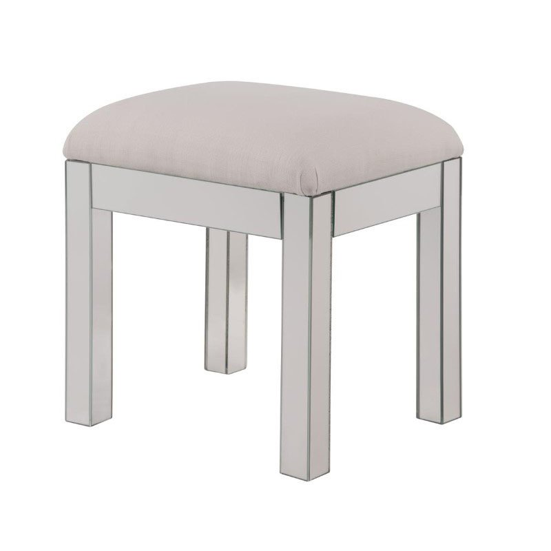 Elegant Decor Dressing stool 18 in. x 14 in. x 18 in. in Clear Mirror (MF6-1041S)