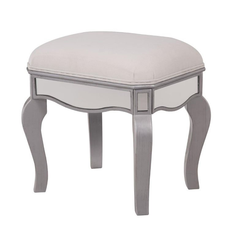 Elegant Decor Dressing stool 18 in. x 14 in. x 18 in. in Clear Mirror (MF6-1044S)