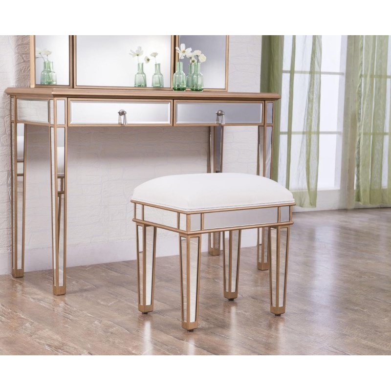 Elegant Decor Dressing stool 18 in. x 14 in. x 18 in. in Gold paint (MF6-1107G)