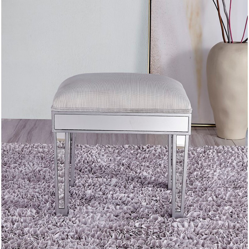 Elegant Decor Dressing stool 18in. Wx 14in. D x 18in. H in antique silver paint (MF72007)