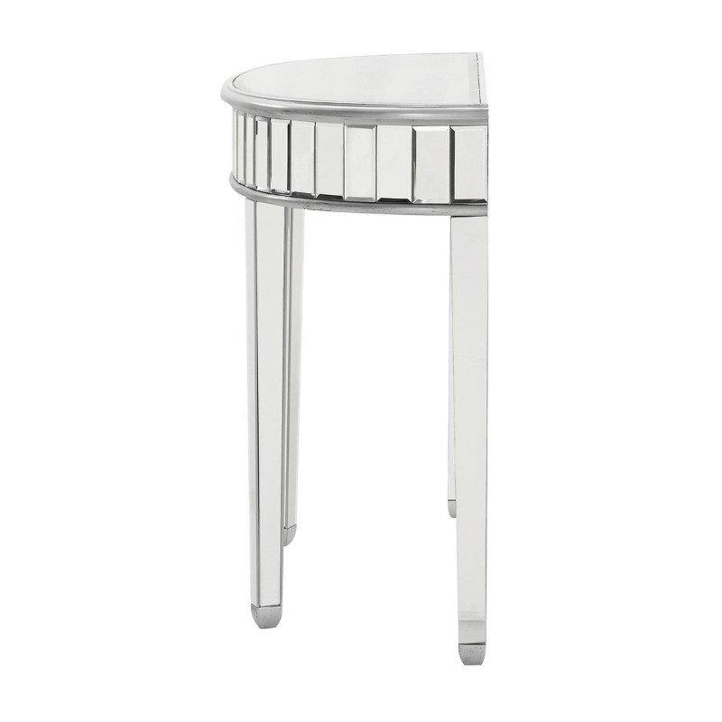 Elegant Decor Half Moon Table 42 in. x 16 in. x 32 in. in Silver paint (MF6-1004S)