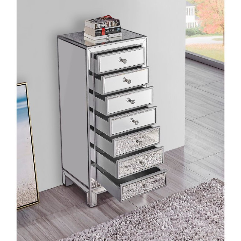 Elegant Decor Lingerie Chest 7 drawers 18in. W x 15in. D x 42in. H in antique silver paint (MF72047)