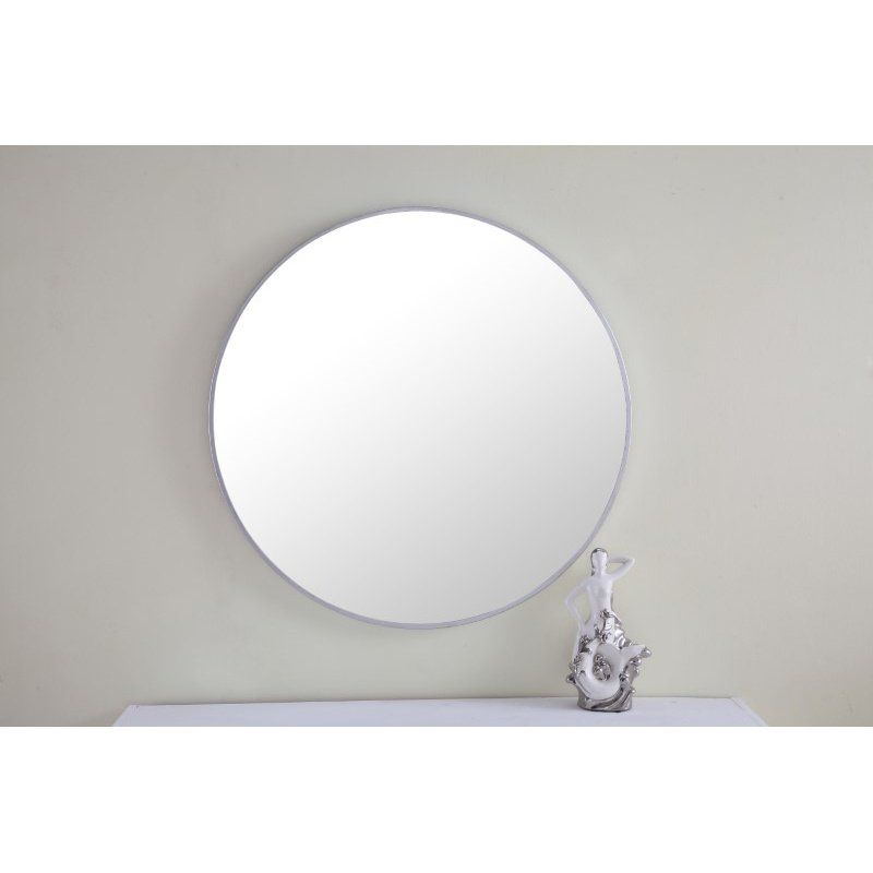 Elegant Decor Metal frame Round Mirror 28 inch Silver finish (MR4036S)