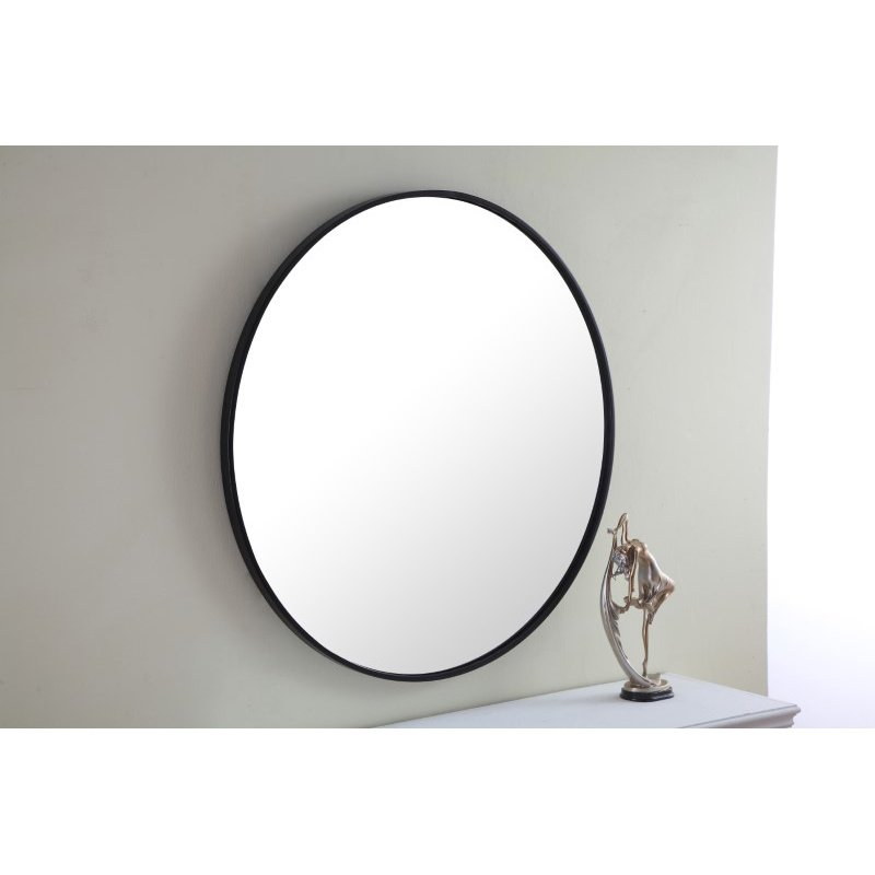 Elegant Decor Metal frame Round Mirror 32 inch Black finish (MR4037BK)