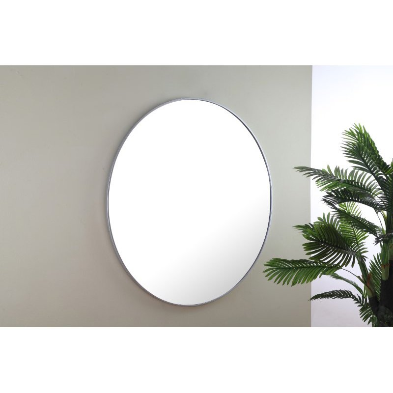 Elegant Decor Metal frame Round Mirror 48 inch Silver finish (MR4049S)