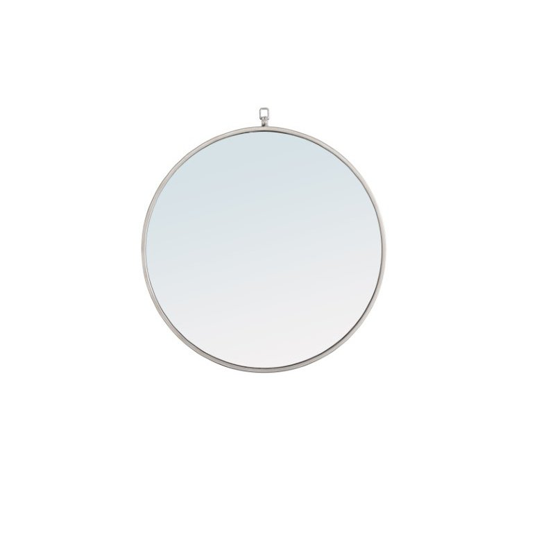 Elegant Decor Metal frame Round Mirror with decorative hook 24 inch Silver finish (MR4053S)