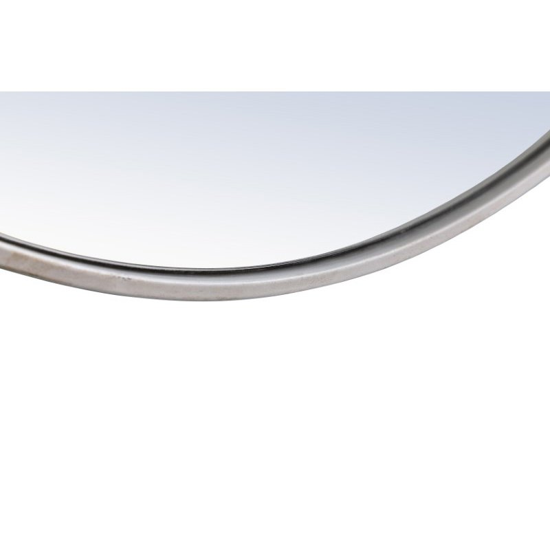 Elegant Decor Metal frame Round Mirror with decorative hook 28 inch Silver finish (MR4056S)