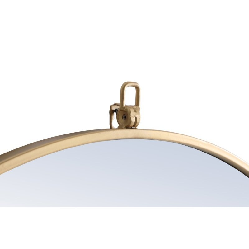 Elegant Decor Metal frame Round Mirror with decorative hook 32 inch Brass finish (MR4058BR)