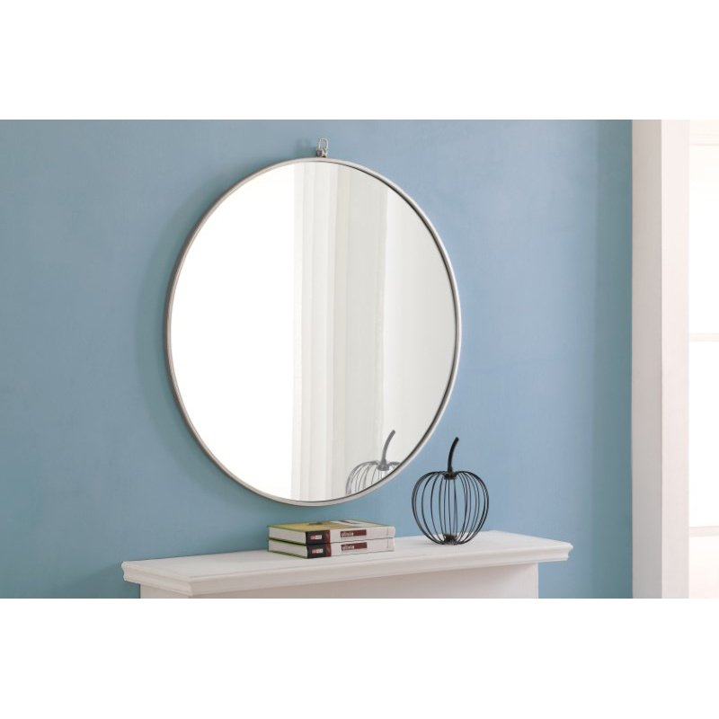 Elegant Decor Metal frame Round Mirror with decorative hook 32 inch Silver finish (MR4059S)