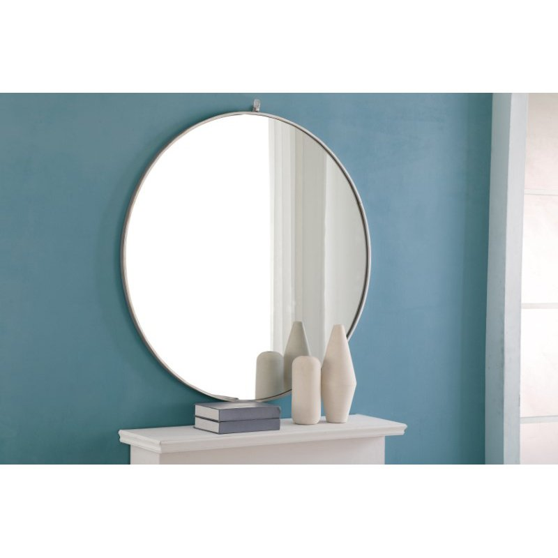 Elegant Decor Metal frame Round Mirror with decorative hook 42 inch Silver finish (MR4066S)