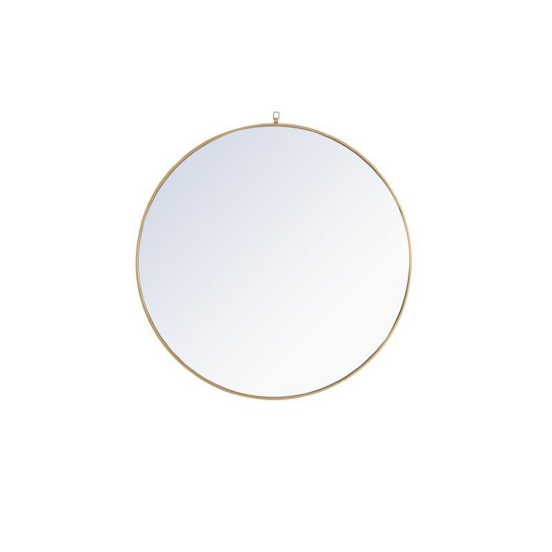 Elegant Decor Metal frame Round Mirror with decorative hook 48 inch Brass finish (MR4068BR)