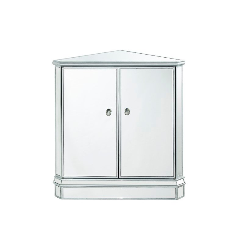 Elegant Decor Mirrored Chest 2 doors 31in. W x 17-1/2in. D x 32in. H in antique silver paint (MF6-1046S)