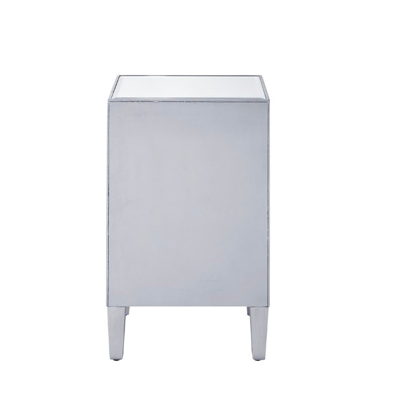 Elegant Decor Nighstand 1 drawer 18in. W x 13in. D x 29in. H in antique silver paint (MF72035)