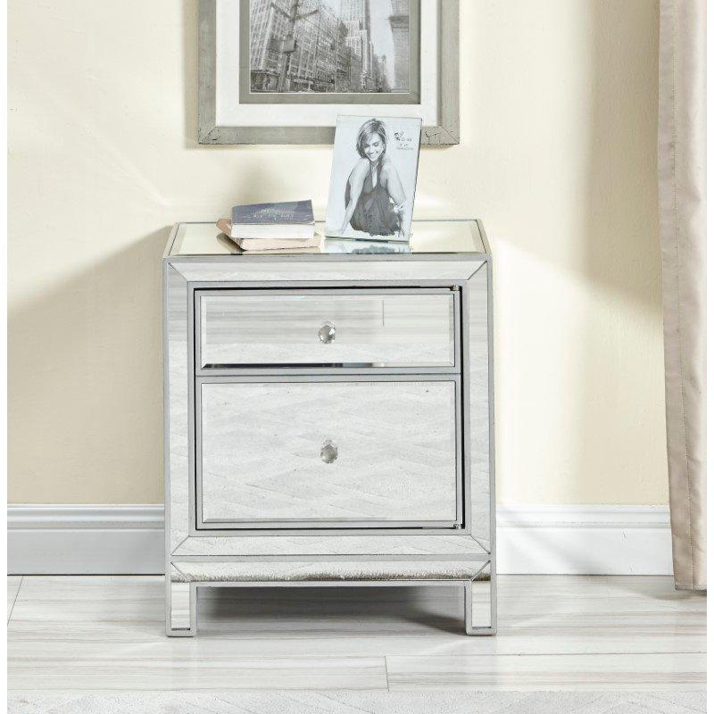 Elegant Decor Nightstand 1 door 21in. W x 14in. D x 24in. H in antique silver paint (MF72016)