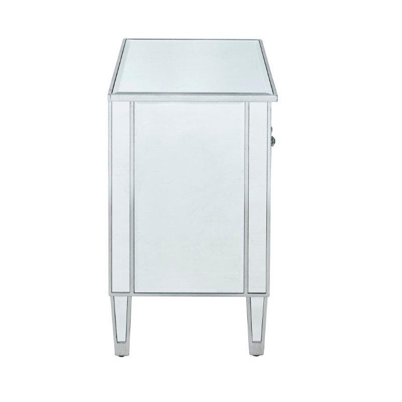 Elegant Decor Nightstand 2 doors 24in. W x 16in. D x 26in. H in antique silver paint (MF72020)