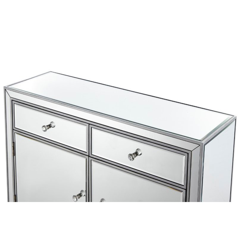 Elegant Decor Nightstand 2 drawers 2 doors 38in. W x 12in. D x 32in. H in antique silver paint (MF72002)