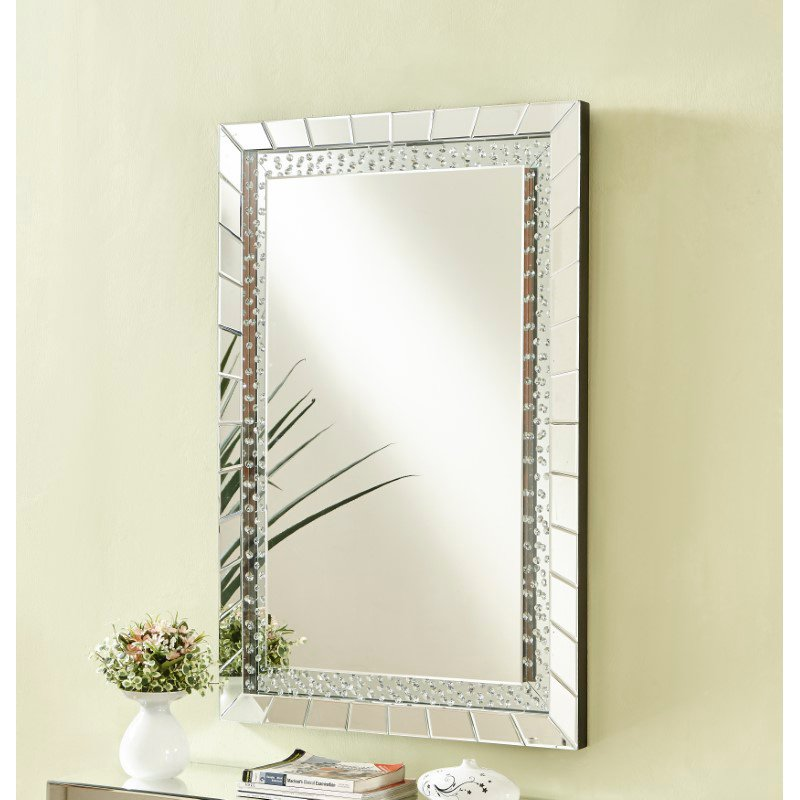 Elegant Decor Sparkle 31.5 in. Contemporary Crystal Rectangle Mirror in Clear (MR9103)
