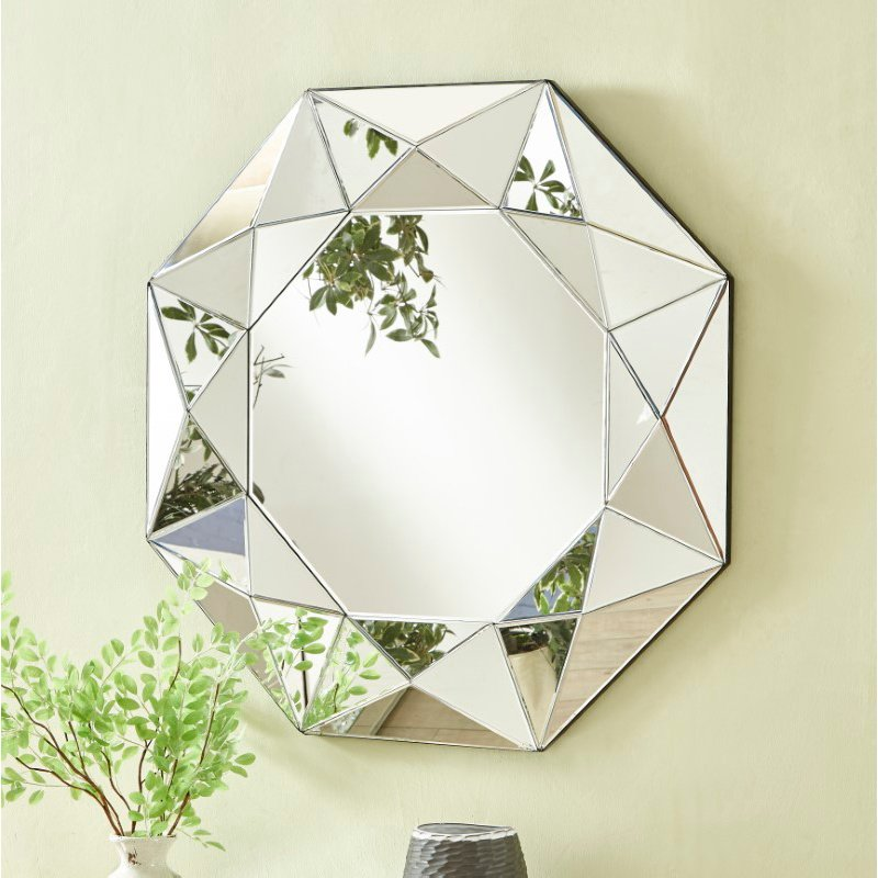 Elegant Decor Sparkle 36 in. Contemporary Round Mirror in Clear (MR9140)