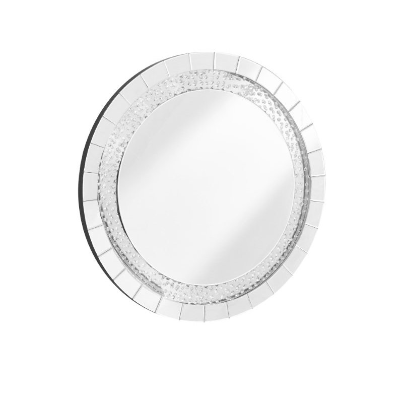 Elegant Decor Sparkle 39 in. Contemporary Crystal Round Mirror in Clear (MR9102)