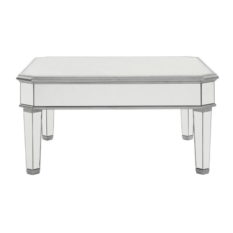 Elegant Decor Square Coffee Table 38 in. x 38 in. x 19 in. in Silver paint (MF6-1021S)