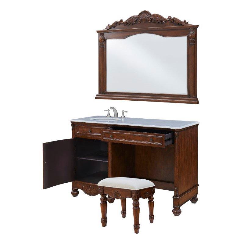 Elegant Decor Vanity Sink 52 in. x 21.5 in. x 35 in. And Mirror 50 in. x 2.5 in. x 40 in. And Chair 16.25 in. x 13.25 in. x 18.25 In. (VF-1046S)