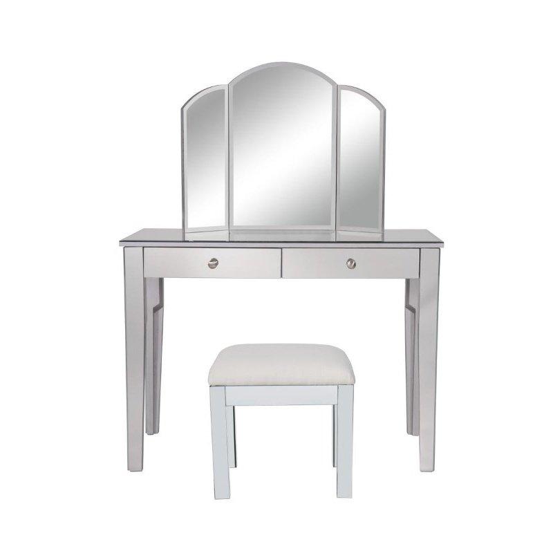 Elegant Decor Vanity Table 42 in. x 18 in. x 31 in. and Mirror 32 in. x 24 in. (and Chair 18 in. x 14 in. x 18 in.? (MF6-2012S)