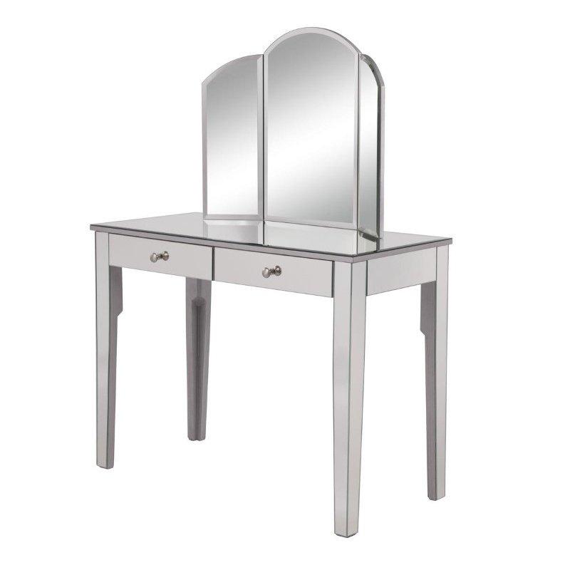 Elegant Decor Vanity Table 42 in. x 18 in. x 31 in. and Mirror 32 in. x 24 in. (MF6-2011S)