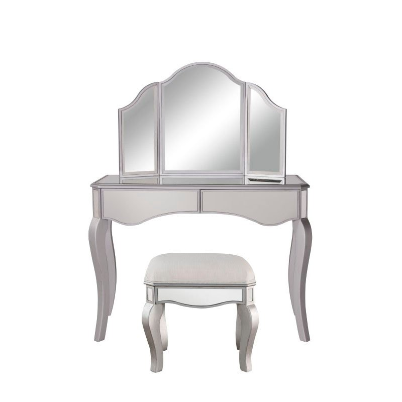 Elegant Decor Vanity Table 42 in. x 18 in. x 31 in. and Mirror 37 in. x 24 in. and Chair 18 in. x 14 in. x 18 in. (MF6-2014S)