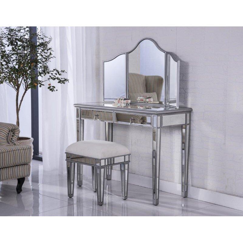 Elegant Decor Vanity Table 42 in. x 18 in. x 31 in. and Mirror 39 in. x 1 in. x 42 in. and Chair 18 in. x 14 in. x 18 in. (MF6-2002S)