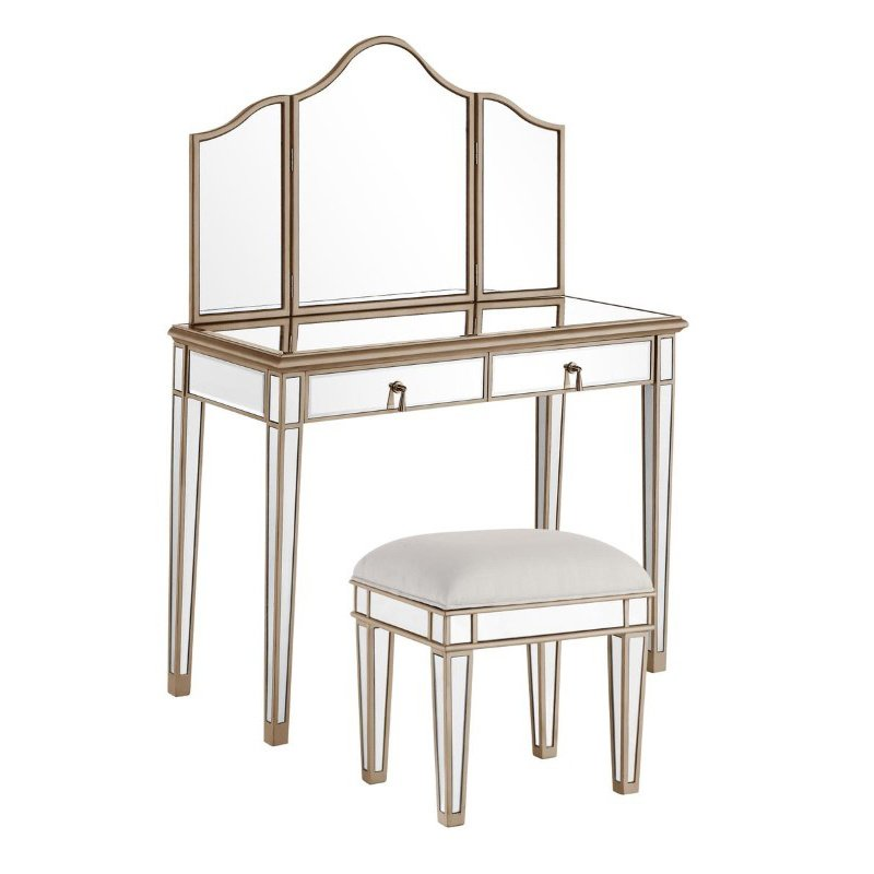 Elegant Decor Vanity Table 42 in. x 18 in. x 31 in. and Mirror 39 in. x 24 in. and Chair 18 in. x 14 in. x 18 in. (MF6-2004G)