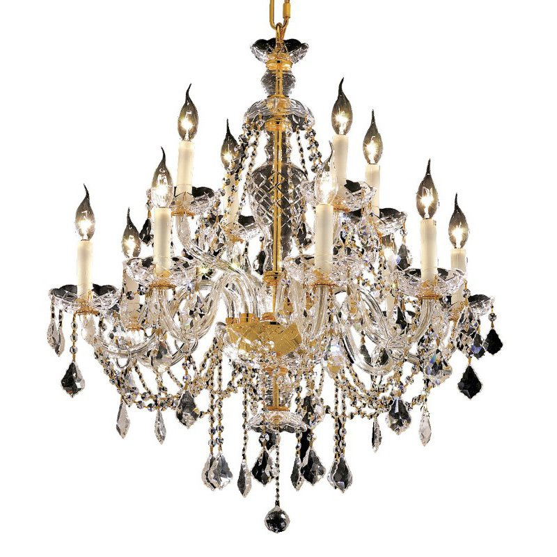 Elegant Lighting Alexandria 12 Light Gold Chandelier Clear Royal Cut Crystal (7831D28G/RC)