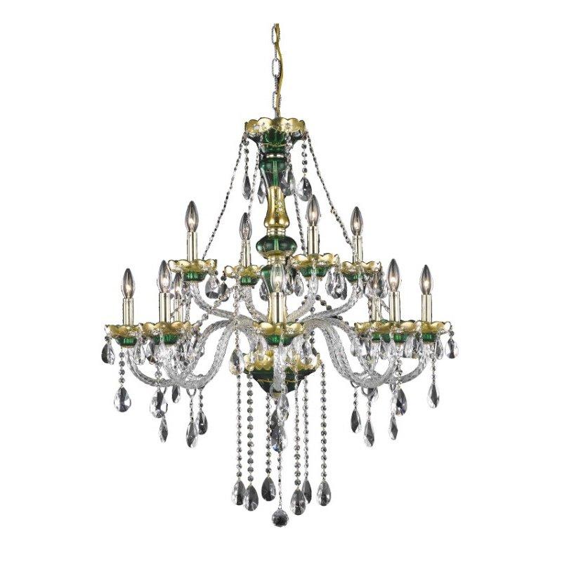 Elegant Lighting Alexandria 12 Light Green Chandelier Clear Royal Cut Crystal (7810G33GN/RC)