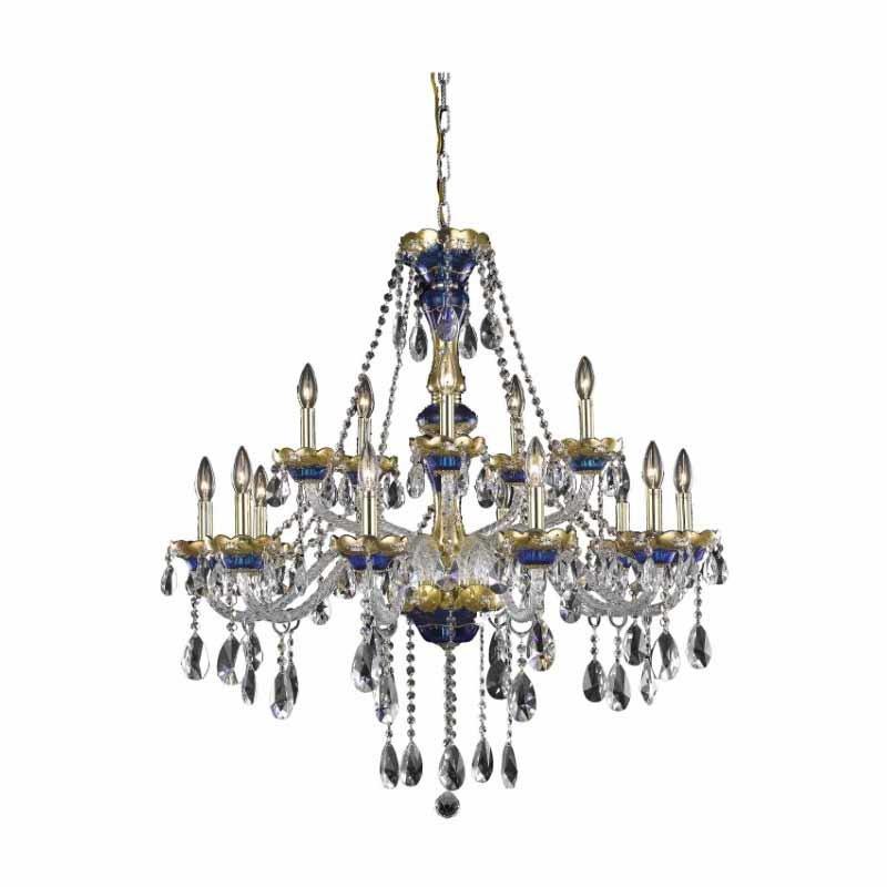Elegant Lighting Alexandria 15 Light Blue Chandelier Clear Royal Cut Crystal (7810G35BE/RC)