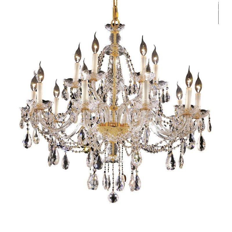 Elegant Lighting Alexandria 15 Light Gold Chandelier Clear Elegant Cut Crystal (7829G35G/EC)