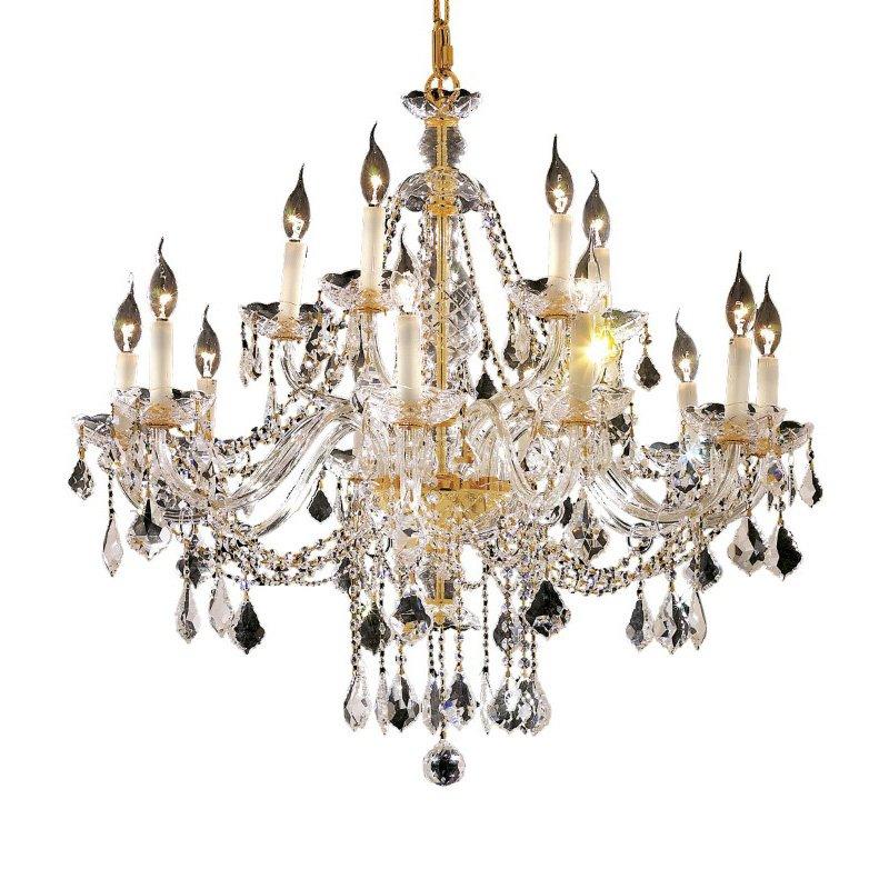 Elegant Lighting Alexandria 15 Light Gold Chandelier Clear Swarovski Elements Crystal (7831G35G/SS)
