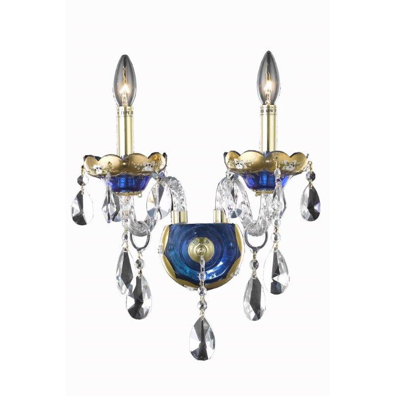Elegant Lighting Alexandria 2 Light Blue Wall Sconce Clear Swarovski Elements Crystal (7810W2BE/SS)