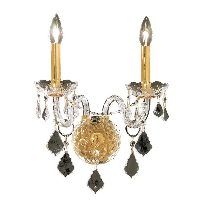 Elegant Lighting Alexandria 2 Light Gold Wall Sconce Clear Swarovski Elements Crystal (7831W2G/SS)
