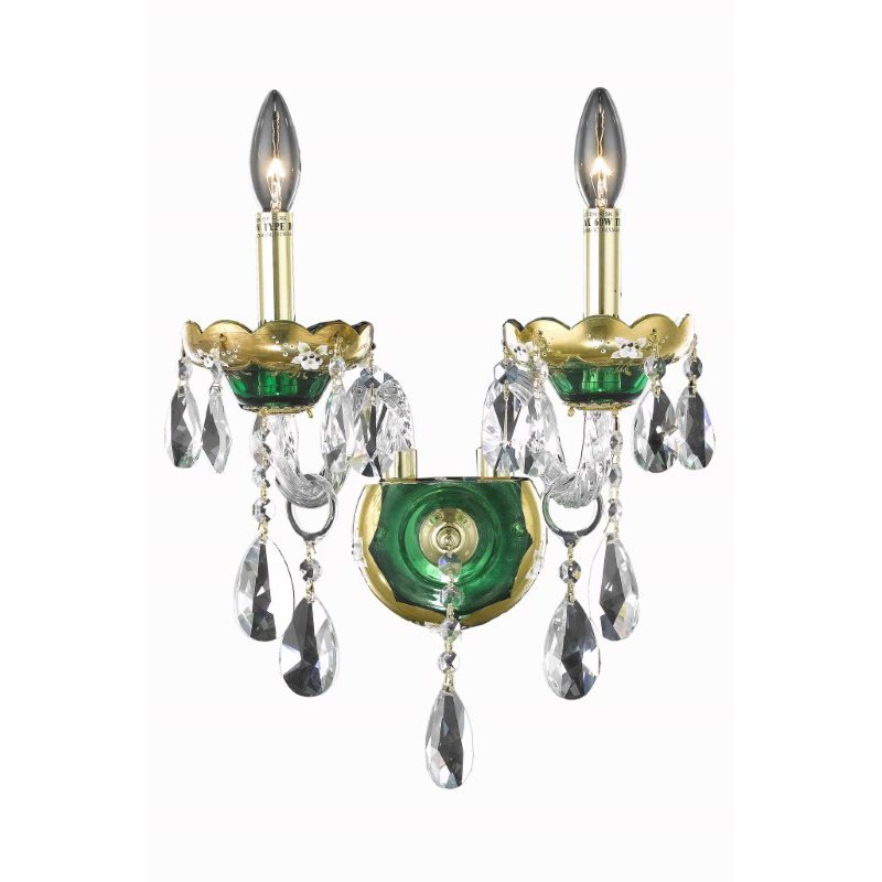 Elegant Lighting Alexandria 2 Light Green Wall Sconce Clear Spectra Swarovski Crystal (7810W2GN/SA)