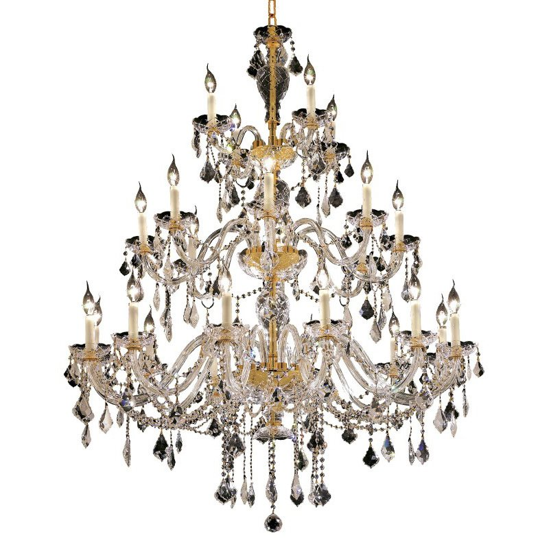 Elegant Lighting Alexandria 24 Light Gold Chandelier Clear Elegant Cut Crystal (7831G45G/EC)