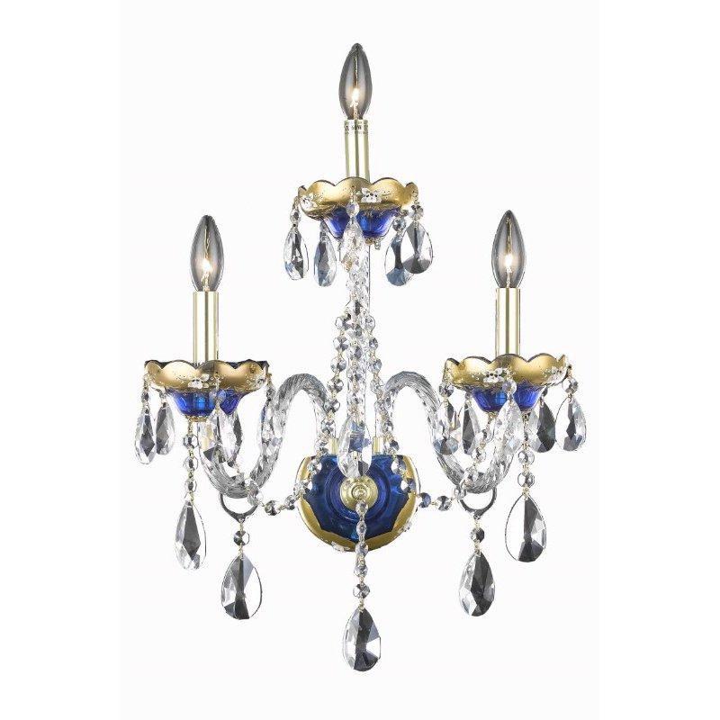 Elegant Lighting Alexandria 3 Light Blue Wall Sconce Clear Elegant Cut Crystal (7810W3BE/EC)