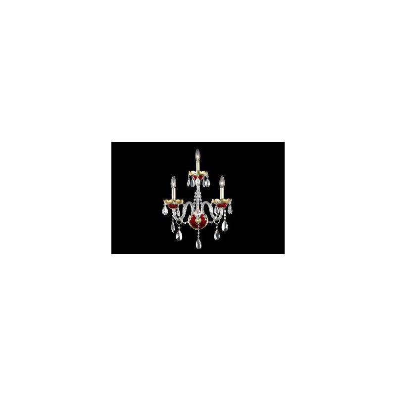Elegant Lighting Alexandria 3 Light Gold/Red Wall Sconce Clear Elegant Cut Crystal (7810W3G/EC)