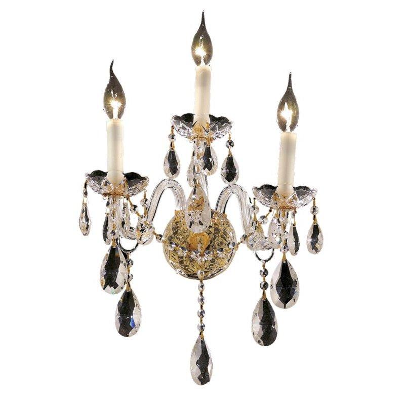Elegant Lighting Alexandria 3 Light Gold Wall Sconce Clear Spectra Swarovski Crystal (7829W3G/SA)