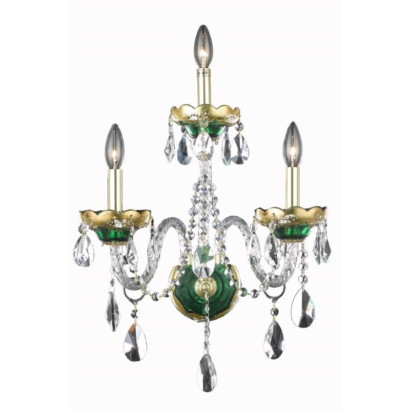 Elegant Lighting Alexandria 3 Light Green Wall Sconce Clear Royal Cut Crystal (7810W3GN/RC)